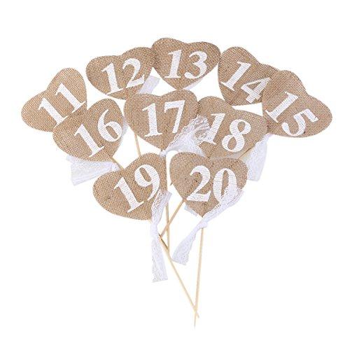 ULTNICE DIY Hochzeit Tisch zahlen rustikale Hochzeit Tisch Dekorationen 11-20 Herz Form Tabellennummer mit Stick (Diy Tisch Zahlen Hochzeit)