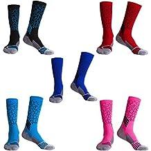 LIKERAINY 5 Pares Hombres Mujeres Elástico Largo Compresión Calcetines de Baloncesto Atléticos Trekking Ciclismo Funcional Deporte
