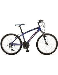 """Orbita EUROPA 24"""" - Bicicleta BTT de montaña para niño, 18 velocidades, cuadro 14'' aluminio, frenos V-Brake, azul, (9 - 12 años)"""