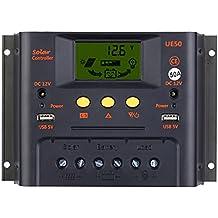 ANSELF - Controlador de Carga Solar PWM de LCD Pantalla 12V/24V Auto Regulador de Batería del Sistema de Iluminación de Compensación de Temperatura (30A/50A Opcional)