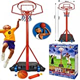 PORTABLE FREE STANDING 236cm BASKETBALL NET HOOP BACKBOARD ADJUSTABLE STAND WITH BALL PUMP SET ON WHEELS