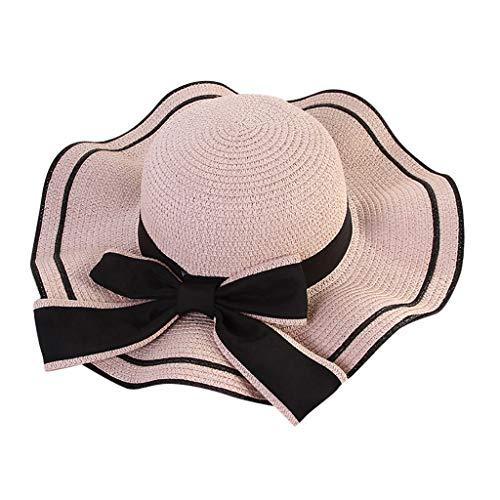 Produp Women Beach Straw hat Jazz Sunshade Panama Trilby Fedora Hut Gangster würdevoll und großzügig Nizza und komfortable ()