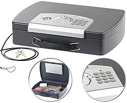 Xcase Geldkassette: Geld- & Dokumentenkassette, Stahl, Elektronik-Schloss, A4, Stahlkabel (Reise Safe)