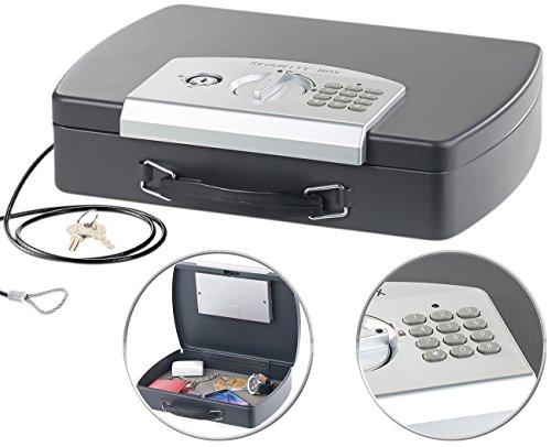 Xcase Mini Safe: Geld- & Dokumentenkassette, Stahl, Elektronik-Schloss, A4, Stahlkabel (Geldkoffer)