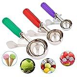 Ice Cream Scoops, Cookie scoop scavino con Trigger Release per frutta, gelato cucchiaio in acciaio INOX scoopers- elegante pacchetto regalo (Green Red Purple)