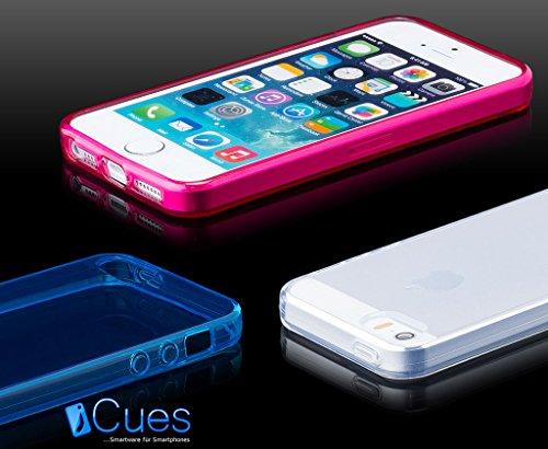 iCues Apple iPhone SE / 5S / 5 |  Transparent TPU Case Rosa | [Display Schutzfolie Inklusive] Transparent Klarsichthülle Durchsichtig Klare Klarsicht Silikon Gel Schutzhülle Hülle Cover Schutz Orange