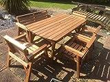Gartenmöbel-Set, 1 Tisch, 1Bank und 4Stühle, Massivholz, sehr robust
