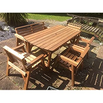 Amazon.de: Edle TEAK XL Gartengarnitur TISCH + 1 Bank + 2