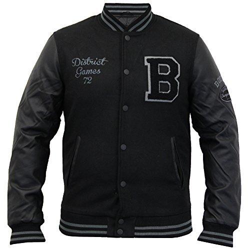 Herren Wollmischung Jacke Brave Soul PU PVC Gesteppt Gefüttert Baseball Militärisch Winter - Schwarz - DISTRICTHUT, XX-Large