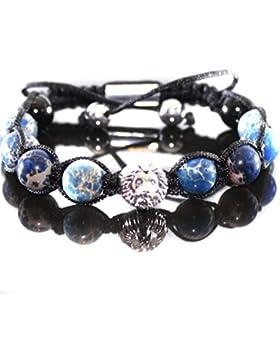 Herren Löwen Kopf Armband Lapis Impression Beads Edelstein Shamballa für Männer
