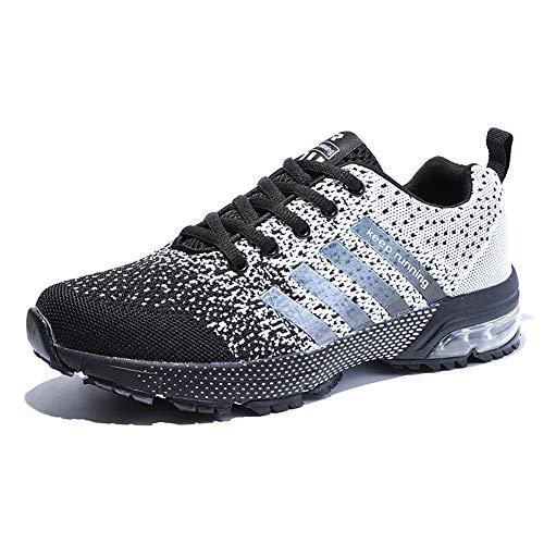 Damen Herren Laufschuhe Sportschuhe Turnschuhe Trainers Running Fitness Atmungsaktiv Sneakers(Weiß schwarz,Größe45)