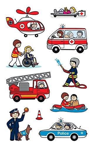 7 - Papier Sticker Berufe, Aufkleber, Kindersticker, Polizei, Feuerwehr, Notarzt, Kindergeburtstag, Mitgebsel, Gastgeschenke, Preise Partyspiele, Kindergeschenk, 30 Sticker ()