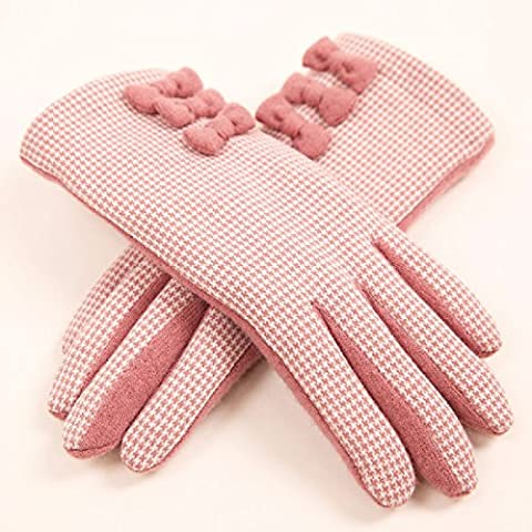 KHSKX Dolce bow in autunno e in inverno maglia guanti touchscreen plovers caldi plaid di lana donne guanti,Rosa