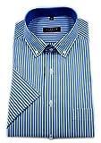 eterna Herren Kurzarm Hemd Modern Fit Button-Down-Kragen gestreift Patch Brusttasche 3054.C14U (Petrol/Weiß, W44, Länge Kurzarm)