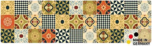 matches21 Küchenläufer Teppichläufer Teppich Läufer Kacheln Muster Retro gelb orange 50x180x0,4 cm maschinenwaschbar