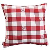 SeGaTeX home fashion 1 Kissenhülle Karo mit Edelweiß Rot-weiß 40 x 40cm Passend zur Landhaus-Serie Karo mit Edelweiß in Rot