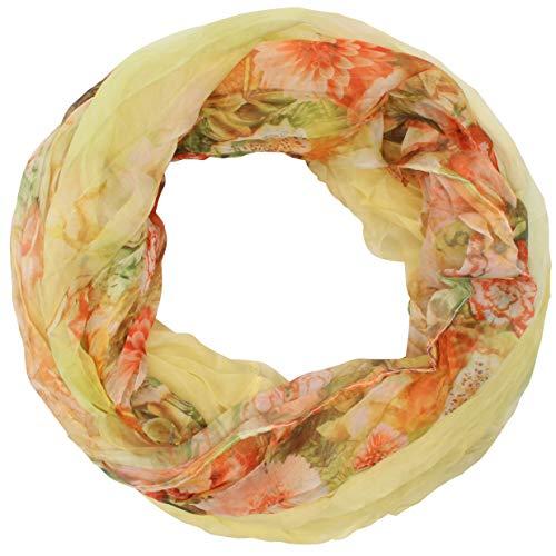 Zarter Sommer Crinkle Loopschal Model: Blume1 angenehm und leicht zu tragen, Damen Rundschal, Schal, Loop, Sommerschal (gelb) -