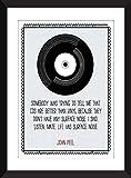 John Peel 'Vinyl is Better' - Le vinyle de John Peel est meilleur que la copie de citation - Unframed Imprimer