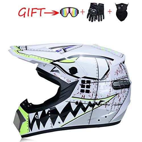 SanQing Motocross Helm ATV Motorrad-Sturzhelm SUV Maske + Goggles + Handschuhe, Personality Haifisch-Zähne Dirt Bike Downhill Off-Road Mountainbike Helm 4-teiliges Set Unisex,Weiß,S