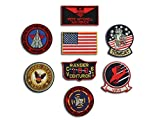 US Navy Top Gun Fighter ( Pete Mitchell ) Tactics Patch Set Fancy Kleid Eisen auf Patch - Set of 8 Stickerei-Abzeichen