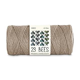 100% Organic Hemp Cord, Twine, String | Jewelry, Beading, Macrame, Crafts | 23 Bees (120m x 22 lb.)