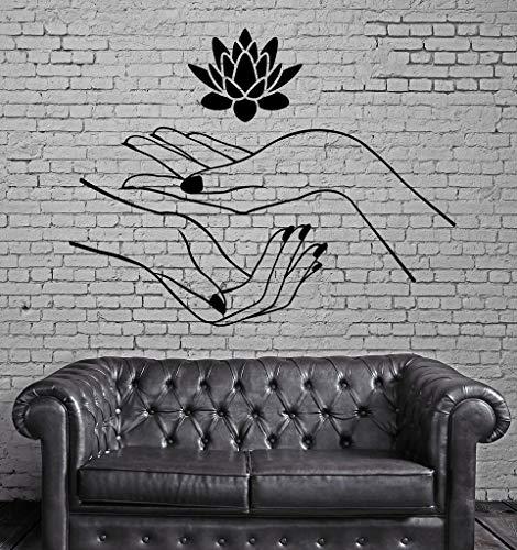 Lotus Wandaufkleber Hände Spa Entspannung Yoga Zen Vinyl Aufkleber WandaufkleberSteuernDekor Wohnzimmer Vinilos Paredes100X116 cm (Alarm-zen)