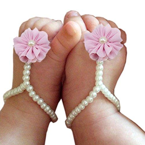 Malloom® 1 Paar Perle Chiffon Barfuß Kleinkind Fuß Blume Strand Sandalen (rosa)