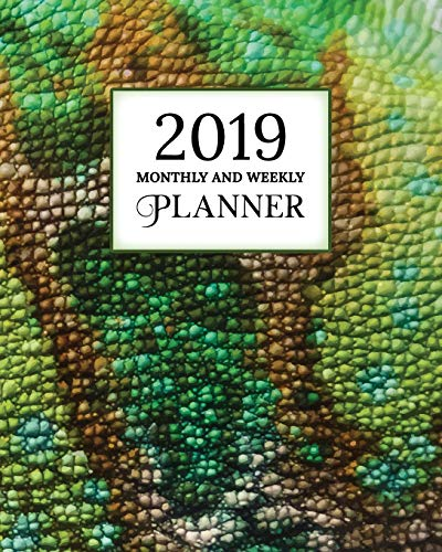 2019 Monthly And Weekly Planner: Calendar, Organizer, Goals and Wish List | Weekly Monday Start, January to December 2019 | Chameleon Skin Print Cover (Skins 2019 Halloween)