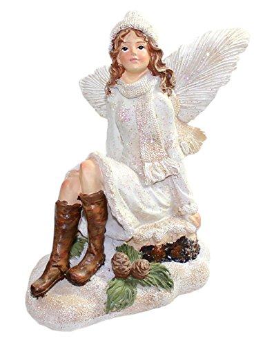 budawi® - Dekofiguren Elfen / Fee sitzend mit Glitzer im Winter, Elfe Elfen Fee Feen Dekofiguren, Dekofigur, Figur Dekoration