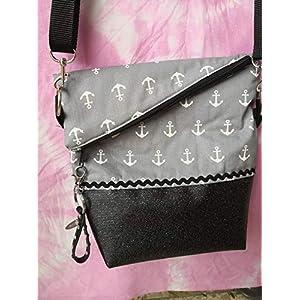 Ausgefallene Damen-Handtasche – Foldover – Schwarz-Glimmer – Grau Anker