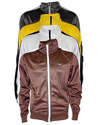ROCK-IT Herren Track Jacket - stylische und hochwertige retro Style Trainingsjacke - Tracktop - Sweater Jacke - Größen S-XXXL - Farbe Braun Weiß M