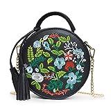 Wanfor Frauen Runde Mini Clutch Umhängetasche Tote Handtasche Messenger Crossbody, Stickerei Blumen Chic Lässig Bankett Handtasche (Schwarz)