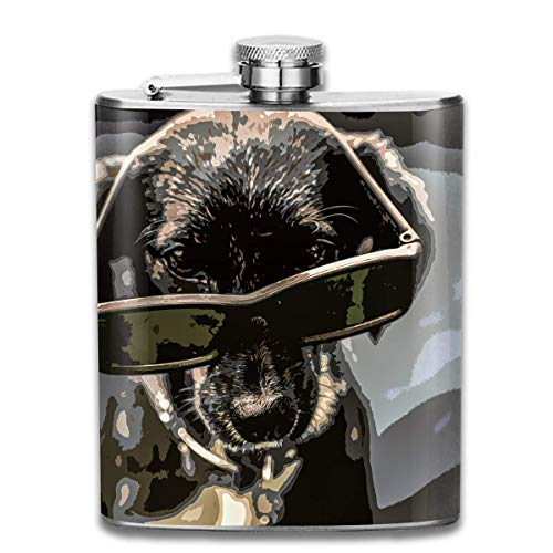 Cool Dog with Sunglasses Hip Flask for Liquor Stainless Steel Bottle Alcohol 7oz