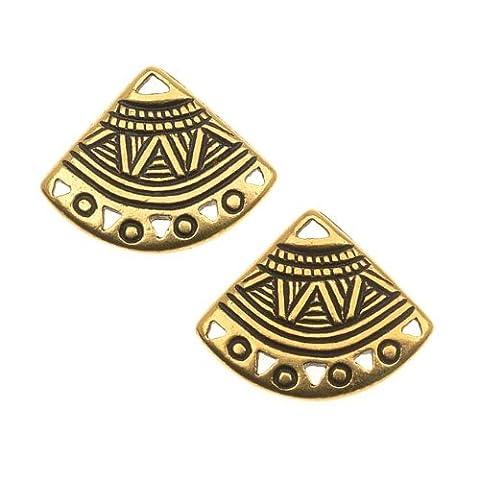 22K Gold Plated Pewter Ethnic Fan Chandelier Earrings 15mm (2)