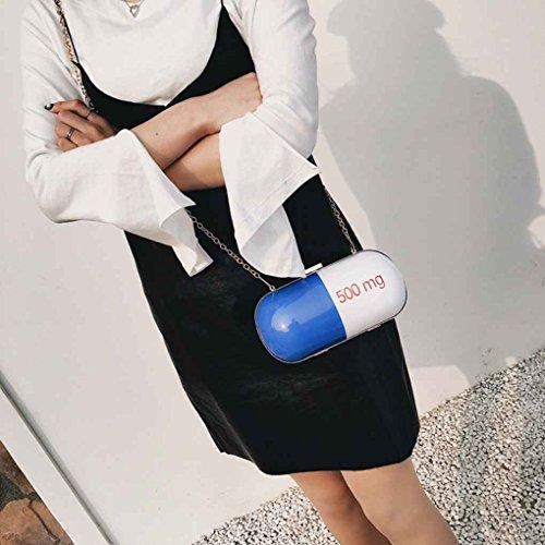 TFgirl Kapsel Form Frauen Kosmetik Fall Ketten Taschen PU Leder Leder Schulter Clutch Bag Rot + schwarz