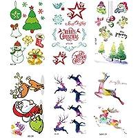 SpringPear® 6X Tatuaje Temporal de Dibujos Animados Pegatina para Fiesta de Navidad Tatuaje Impermeable con