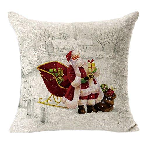 Federe Di Natale,Kword Campane Di Natale Di Stampa Lino Tiro Lino Cuscino Caso Quadrato Cuscino Decorativo Copertura Di Cotone (Beige)
