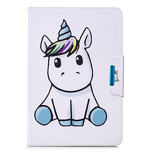 Coopay Flip PU Ledertasche Smart Cover für Touch Tablet 10 Zoll Niedlich Tier Weiß Pferd Muster Original Hülle Tasche Etui Magnetverschluss Wallet Schutzhülle