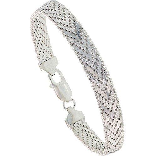 Bracelet en Argent Sterling italien briosco 9-row 5/40,6cm Large, tailles 7-8