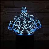 2Er Pack, Sport Hantel Fitness Led Nachtlampe 3D Schreibtisch Nachtlicht Für Innendekoration Cooles...