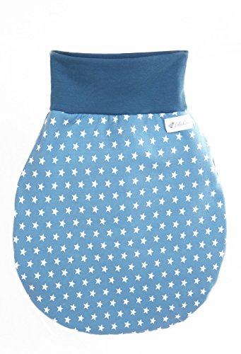 Schlafsack Strampelsack Pucksack LILAKIND Frühling/Sommer Sterne Jeansblau Weiß 0-6 M
