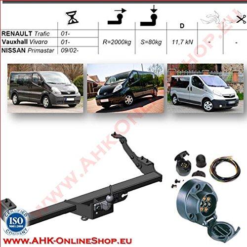 ATTELAGE avec faisceau 7 broches | Nissan Primastar / Opel Vivaro / Renault Trafic de 2002- / crochet démontable avec outils