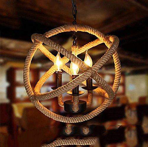 Drei Licht-insel Kronleuchter (E14 3-Lichter Hanfseil Ball Kronleuchter Retro Landhausstil hängenden Insel Pendelleuchte, 220V, Birne Inclued -35cm)