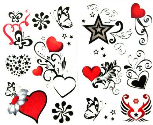 SPESTYLE wasserdicht ungiftig temporäre Tätowierung stickerslatest neue Release 1 Packung mit 2 Stück wasserdicht roten Herzen und schwarzen Schmetterling Tattoos starfake (Herz & Schmetterling Tattoos)