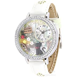 ufengke® luxury nice watch for lady women girls-white strap cat flower welcome theme