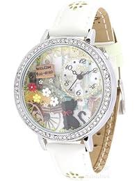 ufengke® luxus nett armbanduhren für dame frauen mädchen-weißes band katze blume willkommen thema