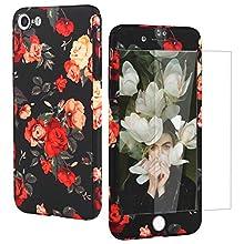Wenearn Coque Compatible iPhone 7 Plastique + Film Trempé, Housse iPhone 7 Noir Anti Choc Etui Protection iPhone 7 360 Degrés Avant Cover Anti-rayure pour iPhone 7 4.7' Floral Vintage Belle Rose