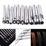 Auidy_6TXD Lochstanzer, rund, 0,5 mm - 5 mm, Lederarbeitswerkzeuge für Lederarmbänder, Gürtel, Leinwand, Papier, Kunststoff, 10 Stück