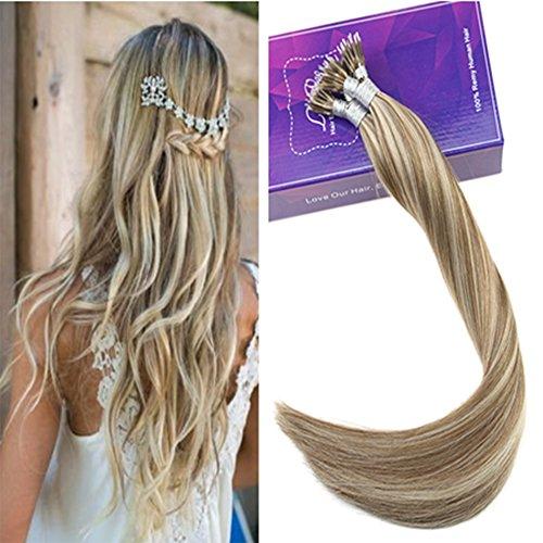 Laavoo 20pollice/50cm real human hair extension nano tips allungamento dei capelli veri brasiliani marrone chiaro highlights bionda platino #p8/60 50grammo weight
