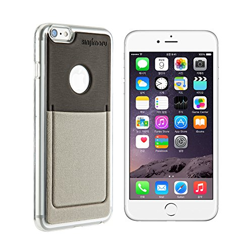 iPhone 6 Plus Wallet Case, Sinjimoru iPhone 6 Plus Hard Case mit Kartenhalter / Schutzhülle mit Smart Wallet Kartenfach auf der Rückseite. Sinji Pouch Case für iPhone 6 Plus / 6s Plus, Pink. Grau